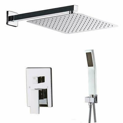 8u0027u0027 Chrome Rain Shower Combo Kits Set Wall Mount Shower Head System Mixer  Faucet