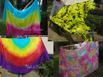 Clearance sale belly dance silk veils, various shapes, colors and thickness.