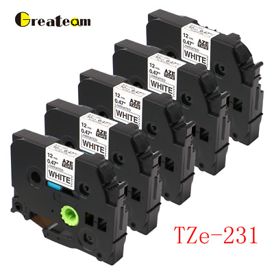 5PK Compatible for Brother TZe231 Black on White P-Touch Label Tape 12mm PT-D210