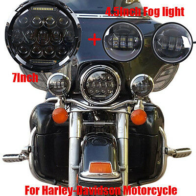 """1X 7"""" 75W Phillips LED Headlight With 2pcs Passing Lights For Harley Davidson"""