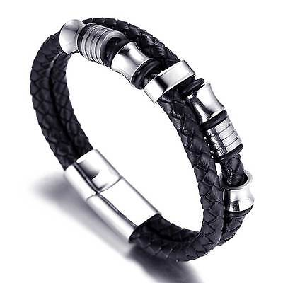 Mens Bracelet Bangle Steel Braided Genuine Leather Rope Magnetic-Clasp 7.5-8.5''