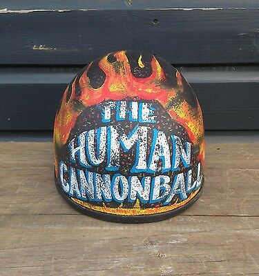 Hand painted human cannonball helmet