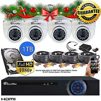 ANNCE 8CH 4x2MP 1080P HD DVR CCTV Outdoor Home Security Camera System Kit 1TB HD