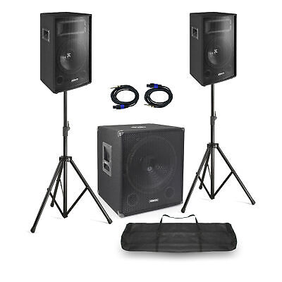 "DJ Speakers and Subwoofer Mobile Disco Set 15"" Woofer 10"" Tops with Stands, Bag"