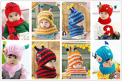Baby Toddler Warm Winter Knitted Costume Cap Crochet Christmas Hat Scarf Set