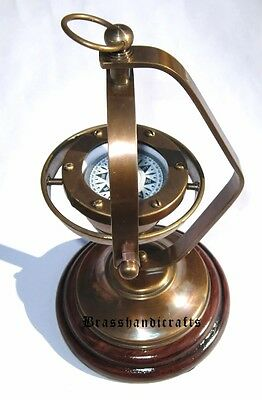 Antique Brass Nautical Ship's Gimballed Vintage Compass Boat Marine Reproduction