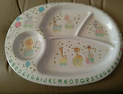 Vintage 1987 Precious Moments Divided Plastic Baby Children's Plate ABCs Circus