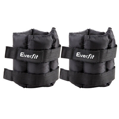 2x5 KG Adjustable Ankle Wrist Weights Home Fitness Gym Training with Pair Strap