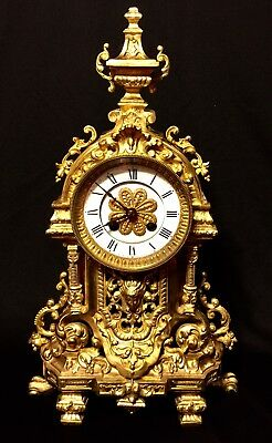 Beautiful French Antique Solid Gilt Bronze Clock 19Th C