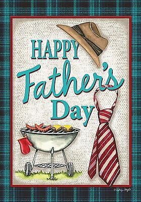 """Happy Father's Day Grillin' House Flag Holiday Hat and Tie 28"""" x 40"""""""