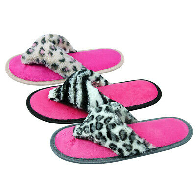 Ladies Womens Animal Print Slippers Flip Flop Textile Faux Fur FOREVER DREAMING