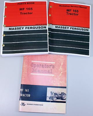 Set Massey Ferguson 165 Tractor Service Repair Owners Operators Parts Manuals