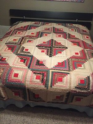 "Antique Late 1800's Hand Pieced Handmade LOG CABIN Patchwork Quilt 82"" x 88"""