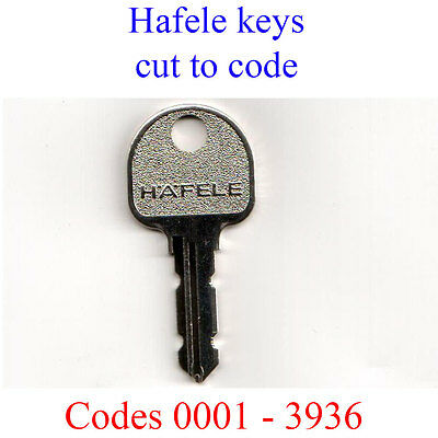 2 x Hafele Replacement Keys Cut to Code for Desks, Filing Cabinets, Lockers
