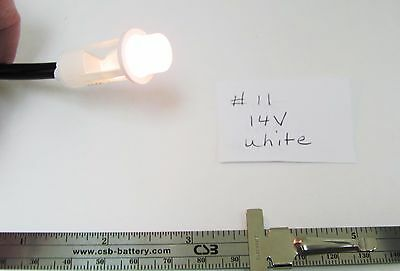 "14V 80mA White Incandescent Panel Mnt Indicator 6"" wire Leads 1/2"" Round, NEW"