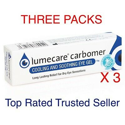Lumecare Carbomer Gel 10g Comforts Soothes Dry Eyes Reduces Blurring 3 Packs UK