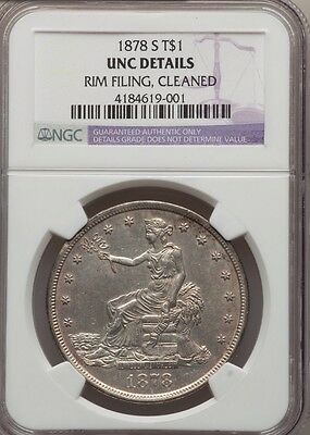 1878-S Silver Trade Dollar - NGC UNC Details - Cleaned Rim Filing