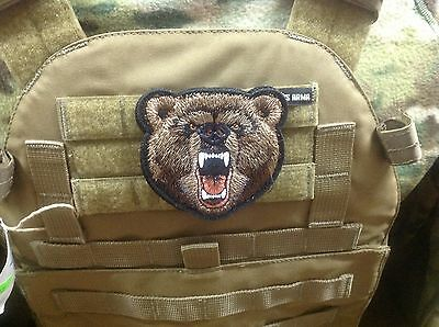 Russian bear head embroidery hook and loop patch