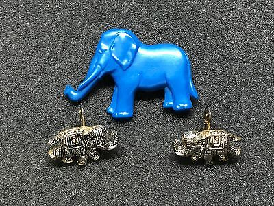 Elephant Earrings and Blue Elephant Pin Vintage Gold Plated Jewelry