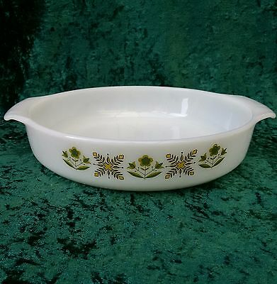 "Vintage Anchor Hocking Fire King Meadow Green 9"" Round Cake Pan 70s Glass Dish"