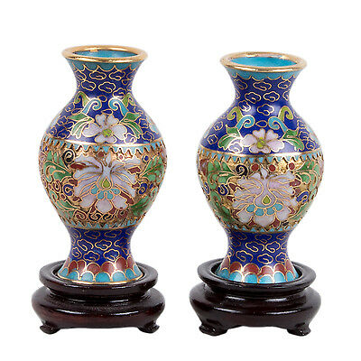 China 20. Jh. Vasen - A Pair of Chinese Cloisonne Enamel Vases - Cinese Chinois