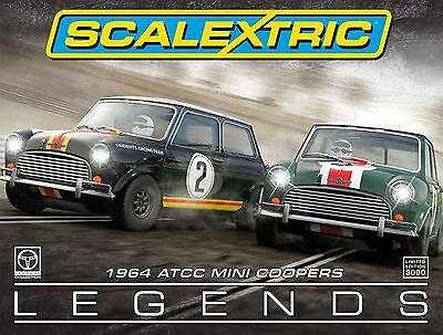 NEW 2x Scalextric 1964 ATCC Mini Coopers Touring Cars Legends C3586A Ltd Ed Slot