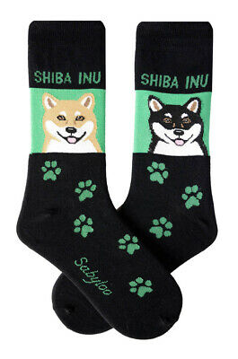 Shiba Inu Socks Lightweight Cotton Crew Stretch Green