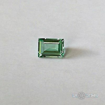 Emerald Green Super light. Baguette 8x6mm. 1,6 Ct. Created Gemstone Monosital. @