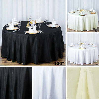 "6 ROUND 120"" Premium POLYESTER TABLECLOTHS Wedding Catering Kitchen Home Dinner"
