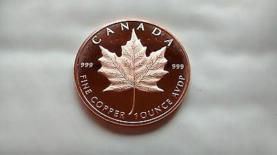 1 oz .999 Fine Copper Round / Coin - Canadian Maple Leaf