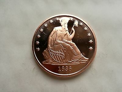 1 oz .999 Fine Copper 1836 Seated Dollar Coin / Round