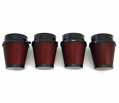 Set of 4 Black & Red Pod Filters - 54mm - Honda CB650/750/900/1000/1100