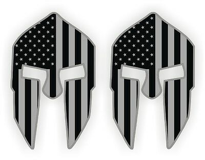 (2) Spartan Helmet Hard Hat Stickers | Welding Motorcycle Helmet Decals | USA
