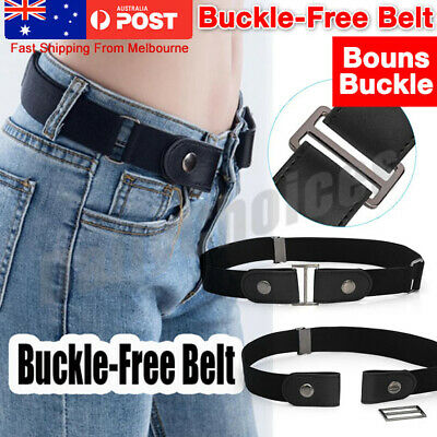 Elastic Invisible Comfortable Womens No Bulge Hassle Belt Jeans Buckle free