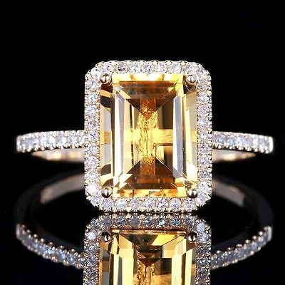 Fashion Women Jewelry 925 Silver Citrine Wedding Jewelry Ring Gift Size 6-10