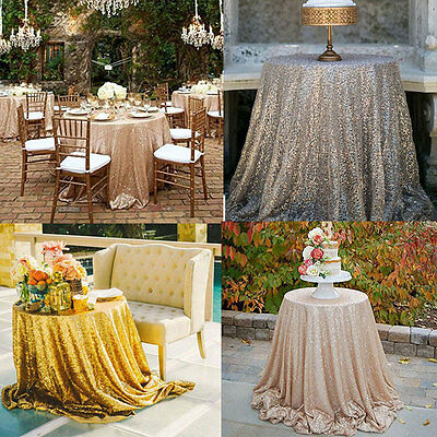80cm Sequin Tablecloth Round Designed Party Gold Silver Champagne Decoration