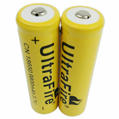 2X 18650 Batterie 9800mAh 3.7V Li-ion Rechargeable Battery for Flashlight Torch