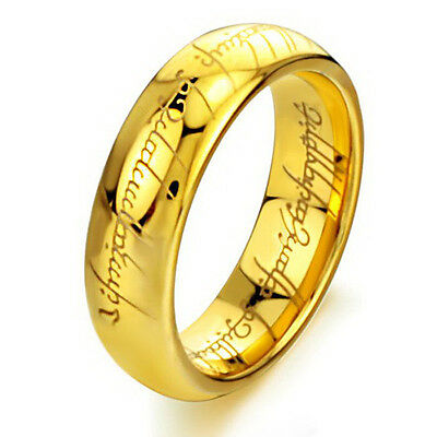 Lord of the Rings The One Ring LOTR Stainless Steel Wedding Ring Chain Necklace