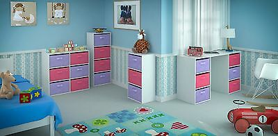 Toy Storage Unit Kids Chest Canvas Drawers Bookcase Children's Bedroom Furniture