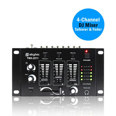 Skytec 4-Channel Mixer Live Line DJ Disco TMX-2211 + Microphone Talkover Fader