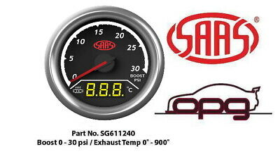 Saas Trax Digital Dual Twin Reading Gauge Diesel Boost 0-30 Psi Egt Pyro 0-900 C