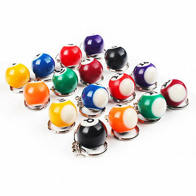 Gift Table Keychain Color Assorted Key Ring Ball Pool Key Chain 16 PCS Billiard