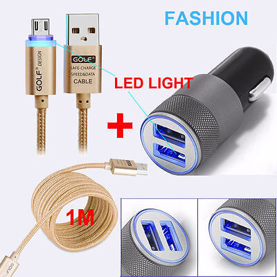Dual USB Twin Port 12V In 5V Out Car Lighter Socket Charger Adapter+LED Cable GB