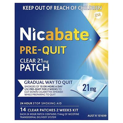 ~ Nicabate Pre-Quit Clear Patch 21Mg Gradual Way To Quit - 14 Patches 2 Week Kit