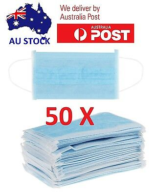 ~ 50X Disposable 3-Ply Ear Loop Face Mask Dental Surgical Nail Flu Safety Aus