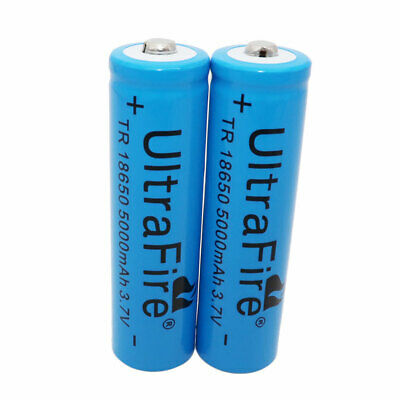 2X 18650 Akku Accu 3.7V 5000mAh Li-ion Batterie Rechargeable Battery Flashlight