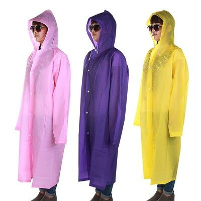 Adult Hooded Raincoat Poncho Outdoor Waterproof Rain Jacket Coat Long Design GT
