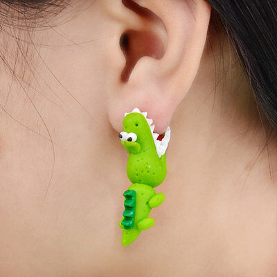 Exquisite Polymer Clay Crocodile Women Cute Personality Earrings Jewelry GT