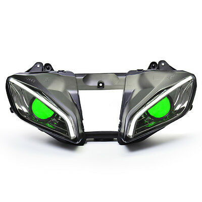 KT LED Angel Halo Eyes Headlight Assembly For Yamaha YZF R6 2008-2016 Green Kit