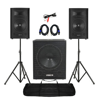 """Mobile DJ Speakers PA Amplifier Mixer Stands Band Disco Kit Set 1400W 12"""""""